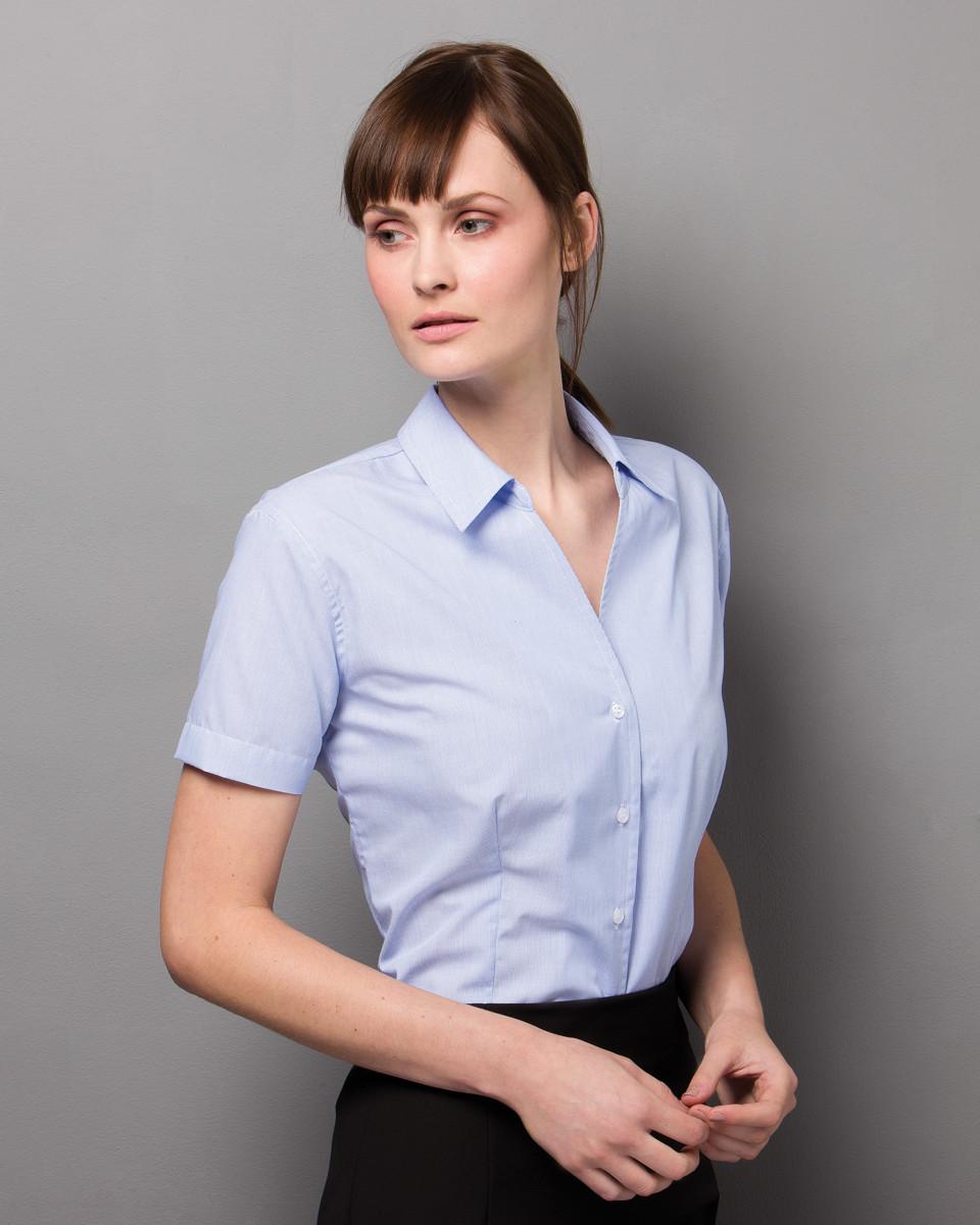 43c3ccc7aa341c KK713 Kustom Kit Ladies' Pinstripe Short Sleeve Shirt | A to Z ...
