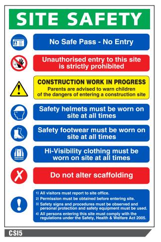 Csi5 Site Safety No Safe Pass No Entry Sign A To Z